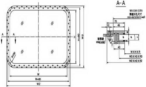 A0 fireproof rectangular window(bolted)
