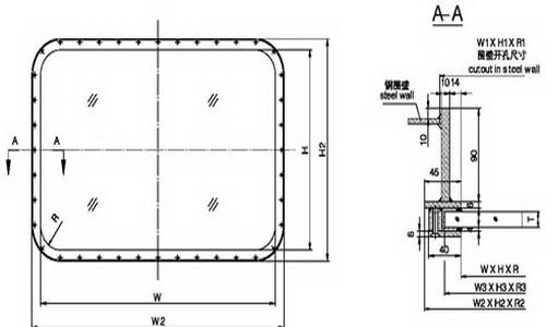 A0 fireproof rectangular window(welded)