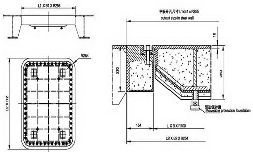 A60 watertight flush hatch cover