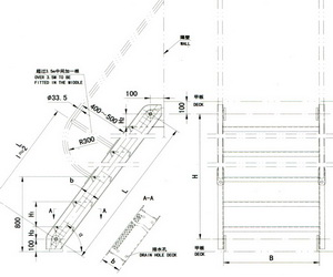 drawing for steel inclined ladder