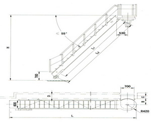 drawing for turnable treads steel accommodation ladder