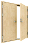 class B-15 double leaf wooden fireproof door